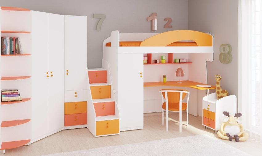 Dětská vyvýšená postel Aurora 90x200cm, pravá - výběr odstínů