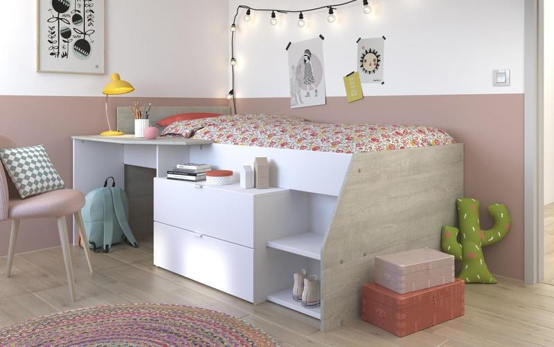 Multifunkční dětská postel vyvýšená Evita - bílá / šedá