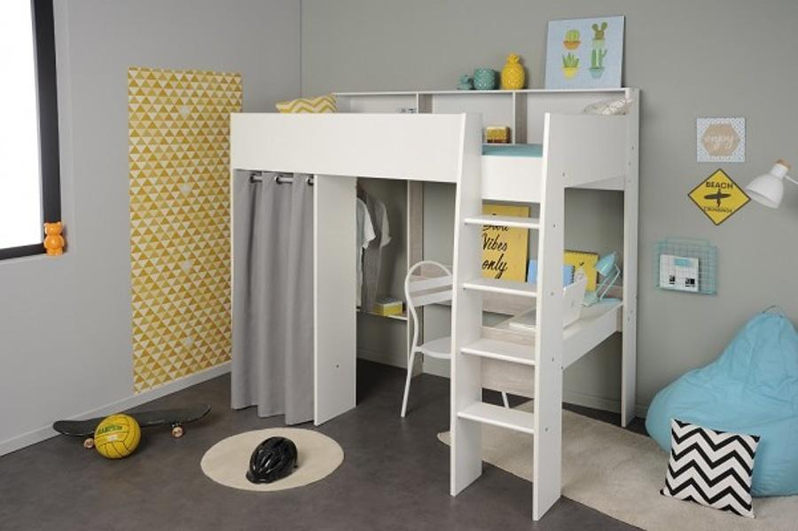 Vyvýšená postel Octavia se skříní a psacím stolem - bílá