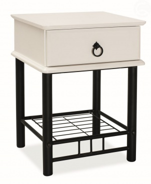 Noční stolek Cas 1 - masiv/kov - bílo/černá