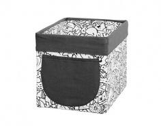 Úložný textilní box Komiks - černá / bílá