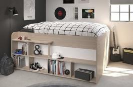 Multifunkční vyvýšená postel Walter - dub brooklyn / bílá