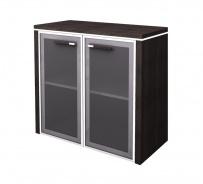Skříňka nízká Lorenc 2D  80cm - wenge/sklo