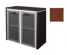 Skříňka nízká Lorenc 2D  80cm - višeň/sklo