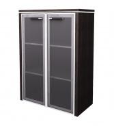 Skříňka střední Lorenc 2D  123,3cm - wenge/sklo