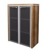 Skříňka střední Lorenc 2D 123,3cm - ořech/sklo