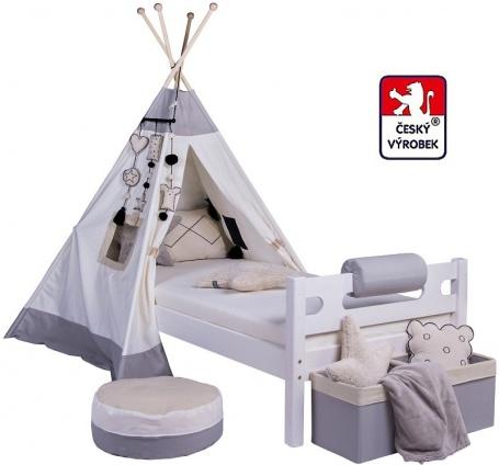 Masivní dětská postel Benjamin Bubbles 90x200cm s TEEPEE - výběr odstínů