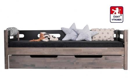 Masivní dětská postel Benjamin Bubbles 90x200cm se zábranou a úložným prostorem - výběr odstínů