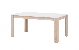 Jídelní stůl rozkládací Attention - bílý/dub sonona/bílý lesk
