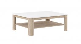 Konferenční stolek Attention - bílý/dub sonoma/bílý lesk