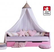 Masivní dětská postel Benjamin Bubbles 90x200cm s nebesy a úložným prostorem - výběr odstínů