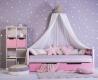 Masivní dětská postel Benjamin Bubbles 90x200cm s nebesy a úložným prostorem