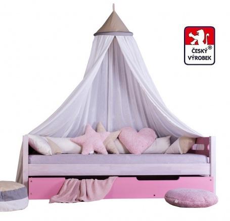Masivní dětská postel Benjamin Bubbles 90x200cm s nebesy a přistýlkou - výběr odstínů