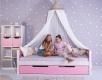 Masivní dětská postel Benjamin Bubbles 90x200cm s nebesy a přistýlkou