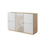 Komoda LAGUNA 135 - beton/dub jantar/bílý mat