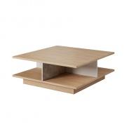Konferenční stolek, beton / dub jantar / bílý mat, LAGUNA