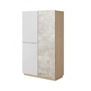 Skříň, beton / dub jantar / bílý mat, LAGUNA