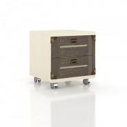 Noční stolek na kolečkách CALYPSO - dub sonoma tmavý/béžová