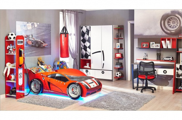 Dětský pokoj Racer 2 - bílá/červená/černá