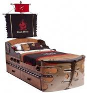 Dětská postel Jack 90x190cm ve tvaru lodi s úložným prostorem - dub lancelot