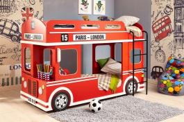 Patrová postel London bus - červená