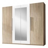 Šatní skříň TERA 4-dvéřová - dub sonoma/bílá