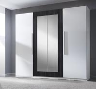 Šatní skříň TERA 4-dvéřová - bílá/ořech černý