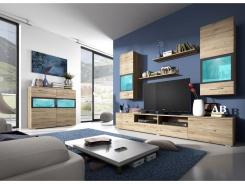 Moderní obývací stěna SILVA - dub san remo/antracit