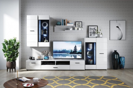Obývací stěna YORK 2 - 280cm - bílá vysoký lesk