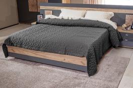 Manželská postel Markus 160x200cm - šedý lesk/dub sanremo