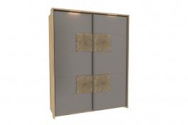 Šatní skříň s posuvnými dveřmi FIJI - šedý lesk/dub san remo