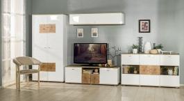 Obývací sestava Markus - bílý lesk/dub sanremo