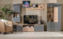 Obývací sestava Markus - šedý lesk/dub sanremo