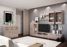Obývací stěna NENSÍ 280cm - jasan světlý/cappuccino lesk