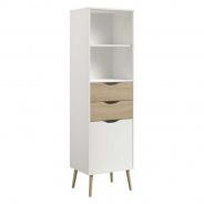 Úzká vysoká skříň Linnea - dub sonoma / bílá