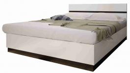 Manželská postel VEGAS - bílá lesk/wenge