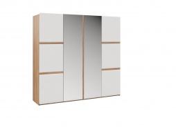 Šatní skříň 4-dvéřová DAKOTA - dub sonoma/bílý lesk