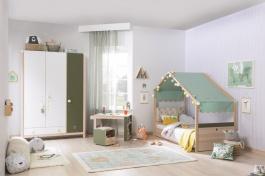 Dětský pokoj Beatrice - dub světlý/bílá/zelená