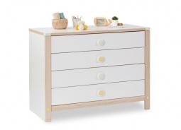 Dětská zásuvková komoda Beatrice - dub světlý/bílá