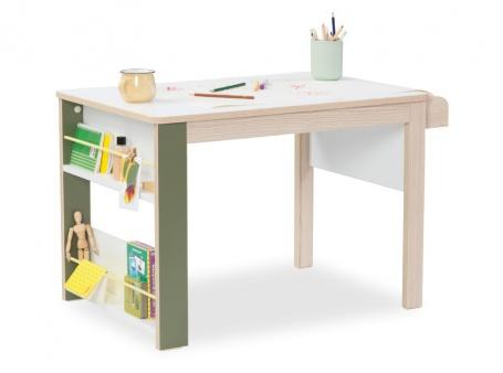 Dětský multifunkční stolek Beatrice - dub světlý / bílá / zelená