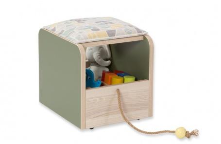 Dětský interaktivní taburet Beatrice - dub světlý / zelená
