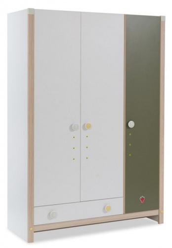 Dětská šatní skříň Beatrice - dub světlý / bílá / zelená