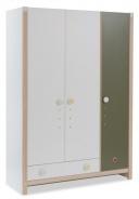 Dětská šatní skříň Beatrice - dub světlý/bílá/zelená
