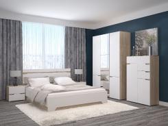 Manželská postel Antalia 160x200cm - dub sonoma/bílá