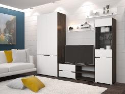 Obývací stěna ANTALIA - wenge/bílá