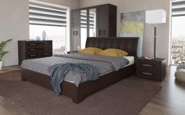 Manželská postel TOKIO 160x200cm - wenge/ekokůže hnědá