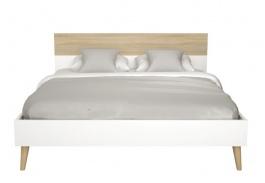 Manželská postel Linnea 180x200cm - dub sonoma / bílá