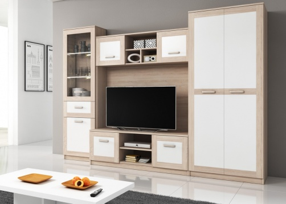 Obývací stěna SORA - světlá sonoma/bílá
