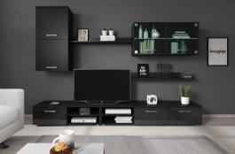 Obývací stěna VARESA - černá/černý lesk