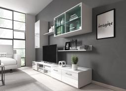 Obývací stěna VARESA - bílá/bílý lesk